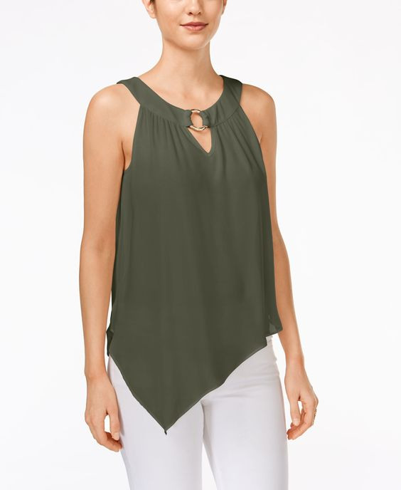 Bcx Juniors' Sleeveless Asymmetrical-Hem Blouse
