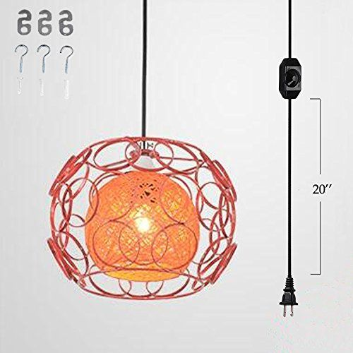 Kiven Plug In Handmade Rattan Ball Pendant Lamp 15 Foot Black Cord With On Off Dimmer Switch Bulb Not Included Ul L Pendant Light Pendant Lamp Pendant Lighting