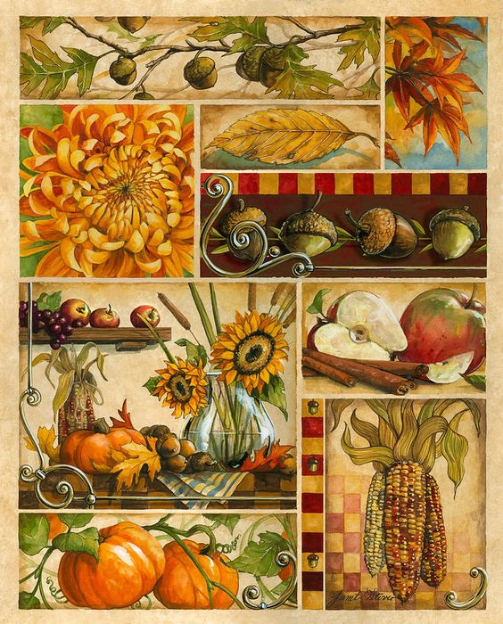 Autumn Montage Painting by Janet Stever