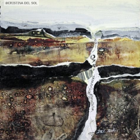 "Abstract Landscape Painting- ""Hidden Message II""- Mixed Media & Collage by artist Cristina Del Sol"