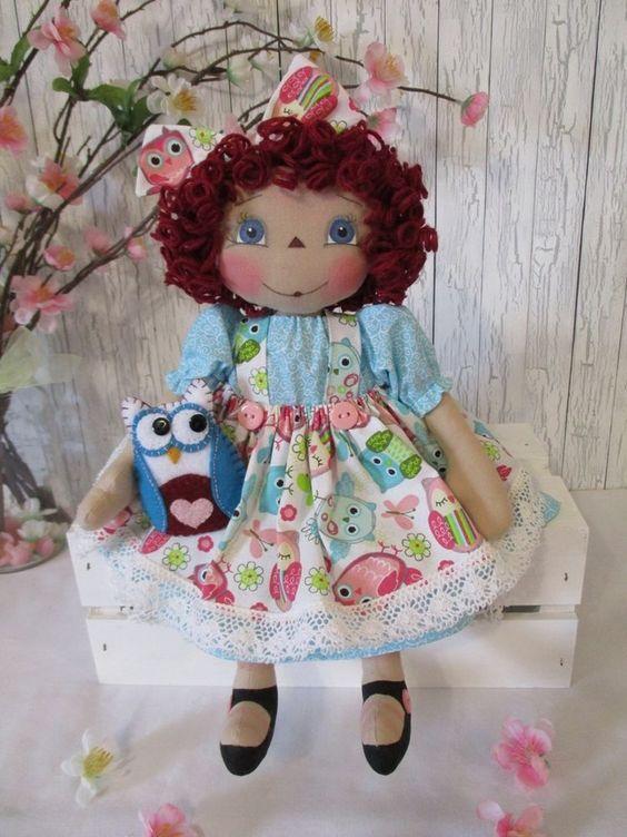 "13"" Primitive Raggedy Ann doll aqua pink owl print dress painted face w/felt owl #NaivePrimitive"
