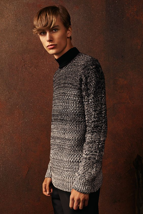 Fade to grey - our Black Ombre Crew Neck Jumper's modern spin on a classic cable knit jumper will add edge to your look. #newlook #menswear