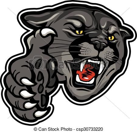 Vector - panther mascot - stock illustration, royalty free illustrations, stock clip art icon, stock clipart icons, logo, line art, EPS picture, pictures, graphic, graphics, drawing, drawings, vector image, artwork, EPS vector art