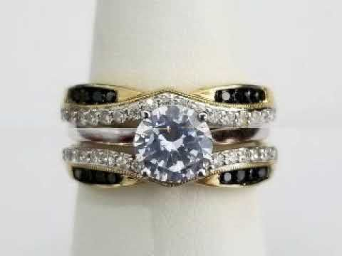 14k Yellow Gold Black White Diamonds Solitaire Enhancer Ring Guard Wrap Gold Di Kay Jewelers Bridal Sets Bridesmaid Jewelry Sets Diamond Bridal Ring Sets