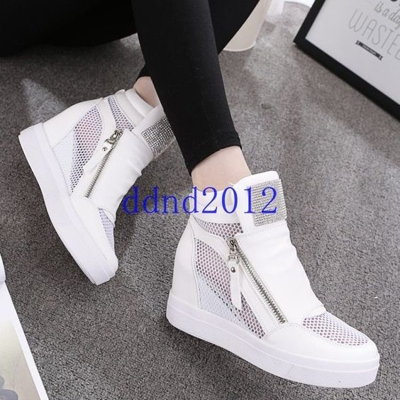 Ladies Wedge Hidden Heels Platform Zip Mesh Ankle Boots Womens Athletic Sneakers