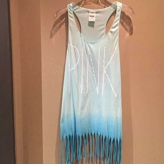 VS Pink cover up / dress Flirty VS PINK dress/ cover up for beach or poolpretty blue turquoise color with fringe on the bottom. The front has the pink logo with white letters, only worn once and still in very good condition , only flaw I can describe there are a couple lines across the upper back , probably from tanning lotion that didn't come out in the wash ! Only noticeable by very close inspection ! PINK Victoria's Secret Dresses