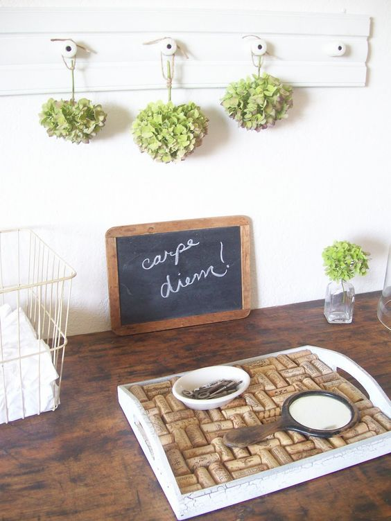 Fun tray with wine corks.