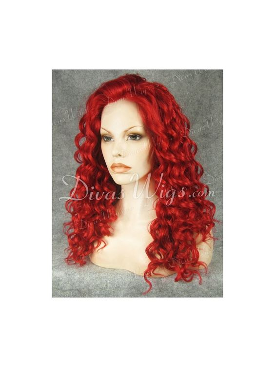"""22"""" Red Curly Lace Wig-sy037"""