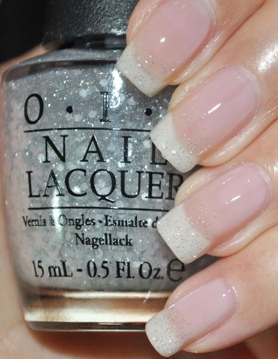 American Manicure:  Here is what I used:  White - Don't Touch My Tutu!  Pink - You Callin Me A Liar?  Glitter - Pirouette My Whistle  Nubar Diamont topcoat