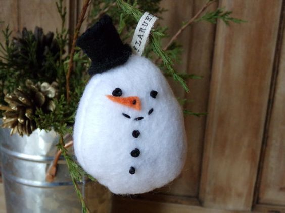 Felt Snowman Ornament, Christmas Tree Snowman Ornament, Handmade Felt Christmas Ornament, Felt Snowman Christmas Tree Ornament
