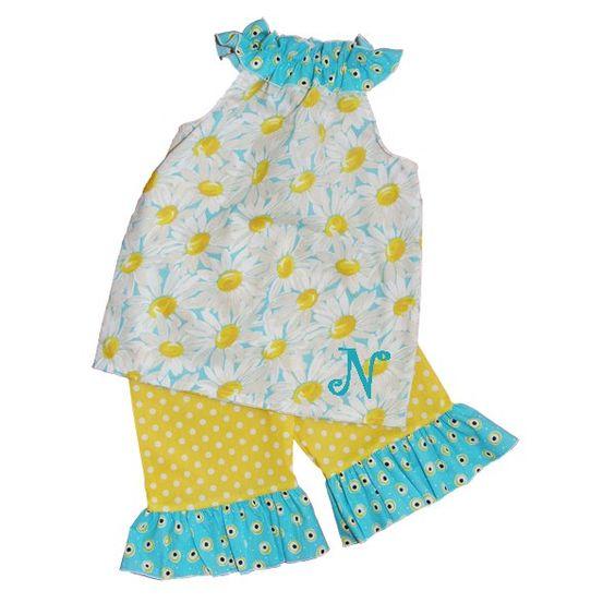 Monogrammed Daisy Ruffled Neck Top/Yellow Polka Dot Ruffled Short, Capri, or Pant Set