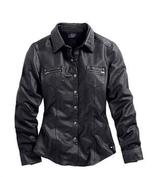 Womens leather look shirt