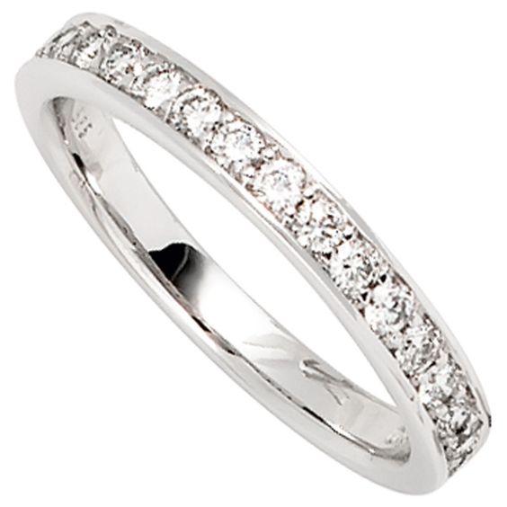 Details zu Damen Ring 585 Gold Weißgold 17 Diamanten Brillanten 0