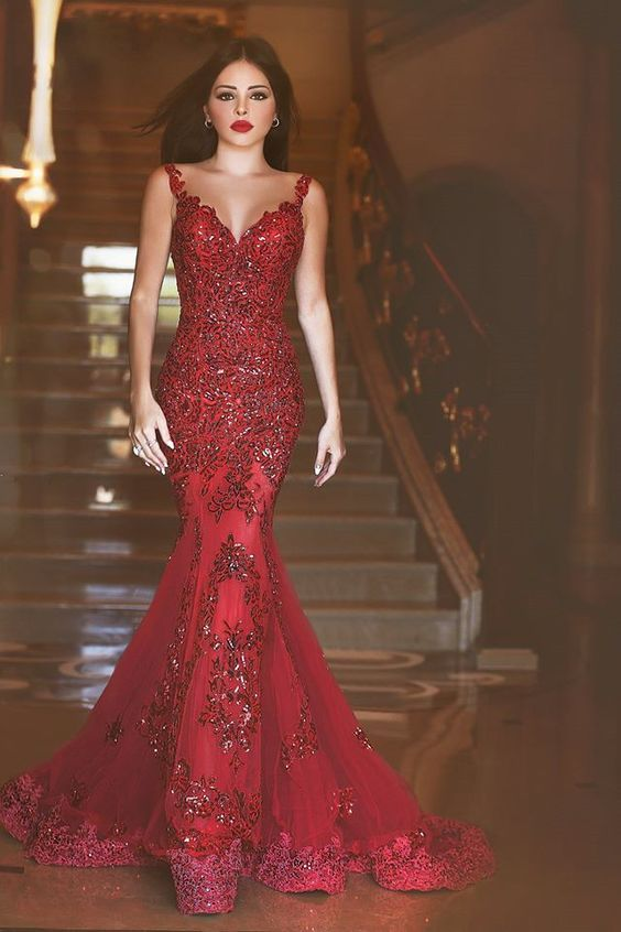 Glamorous Said Mhamad Dresses, Red Prom Dress, Mermaid Prom Dress, Sequins Prom Dress 2016, Appliques Sweep Train Evening Gowns
