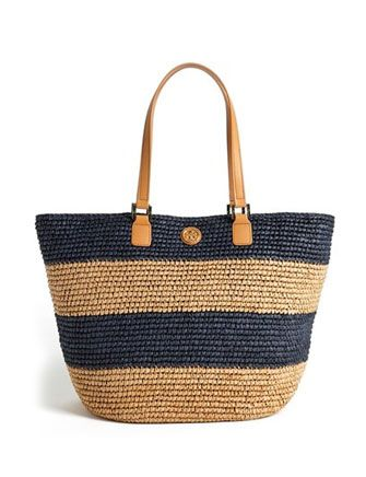 TORY BURCH Wicker Stripe Tote Navy blue Camel