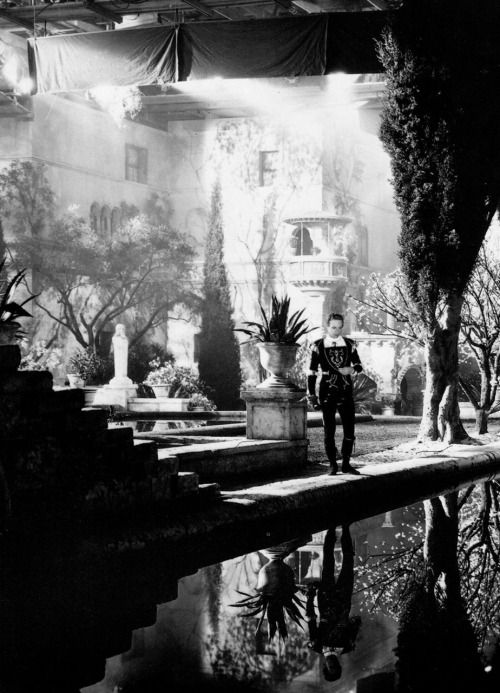 Leslie Howard on the realized set of Juliet's garden in Romeo and Juliet (1936…: