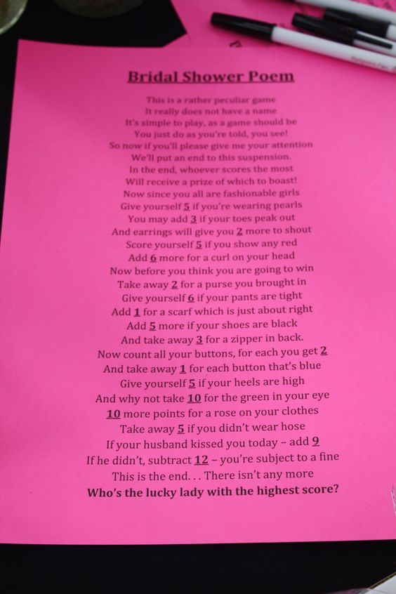 fun bridal shower game / poem for the tables