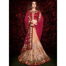 Dark Pink Georgette and Light Peach Net Embroidered Saree