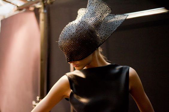 Vogue's View from Couture Show: Armani Privé; I need to try pulling this hat / face mask off at my next party: Private High, Armani Prive, Couture Spring, Spring 2012, Privé Spring, Kevin Tachman, Haute Couture, Armani Privé