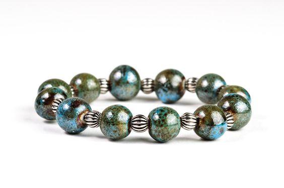 #bracelet #jewelry #fashion #devikabox  Autumn Stretchy Bracelet Nautical Blue Ceramic Fall Fashion Jewelry. $24.00, via Etsy.