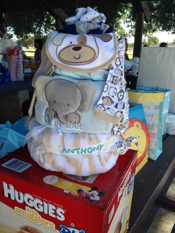 Elephant and Doggie Diaper Cake