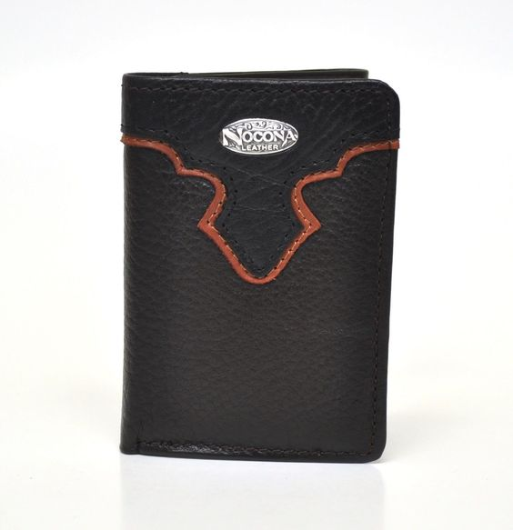 Nocona Tri-Fold Genuine Leather Western Men's Wallet w/Concho-Drk Brown N5482602