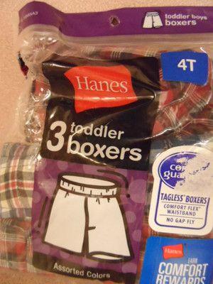 BOYS BOXERS 4 TODDLER. 3 PAIR IN PACKAGE. HANES. NEW IN PACKAGE