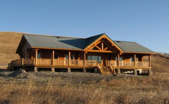 Home house plans and beautiful on pinterest for Ranch style log home designs