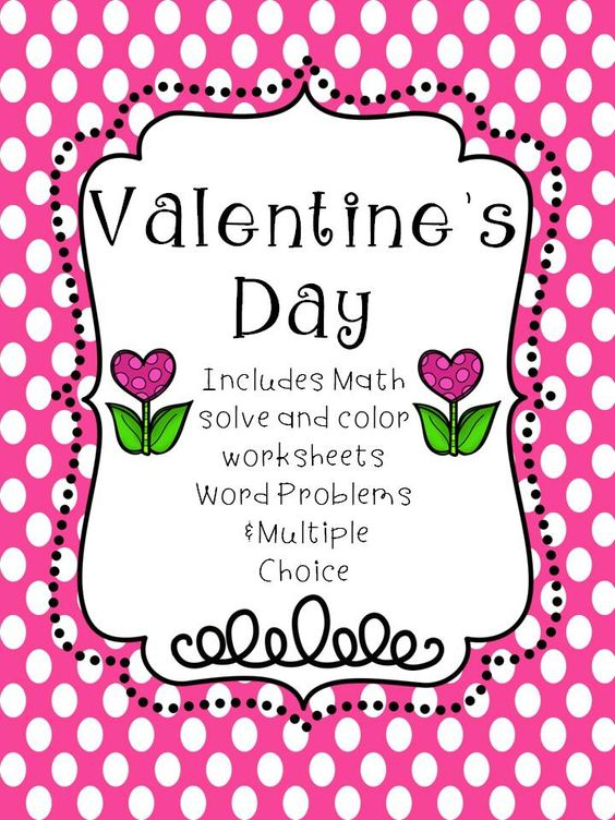 Valentine's Day Math Activity Book. #tpt #math #multiplication #division #addition #subtraction #wordproblems #multiplechoice
