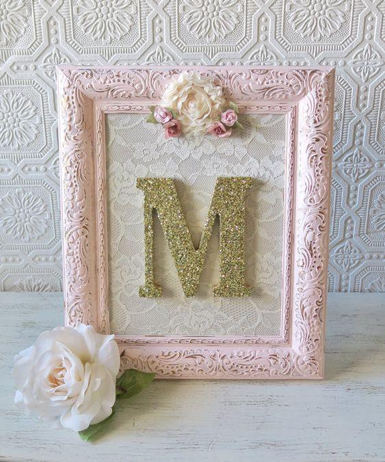 Pink and Gold Nursery Decor Decorative Letters von SeaLoveAndSalt