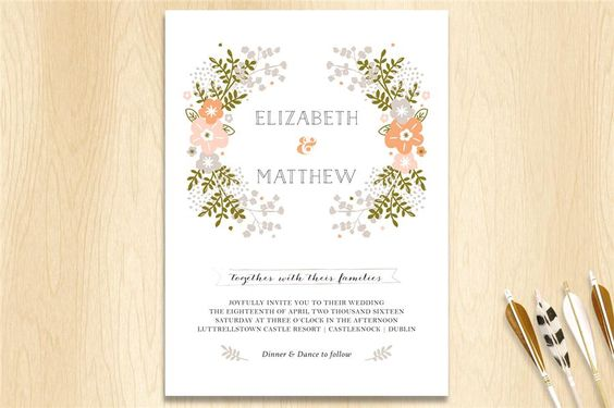 Grand Wreath Invitation . Wedding Stationery from Appleberry Press