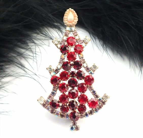 "Unique Czech Rhinestone Christmas Tree Pin #636 - 2 6/10"" height"