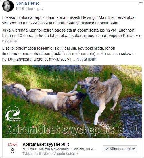 Https Www Facebook Com Sonjaperho Posts 10210085623482611 Koira Malm
