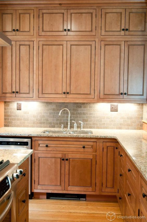 Not My Exact Wood Color But I Like The Counters And Backsplash Maple Kitchen Cabinets New Kitchen Cabinets Kitchen Renovation