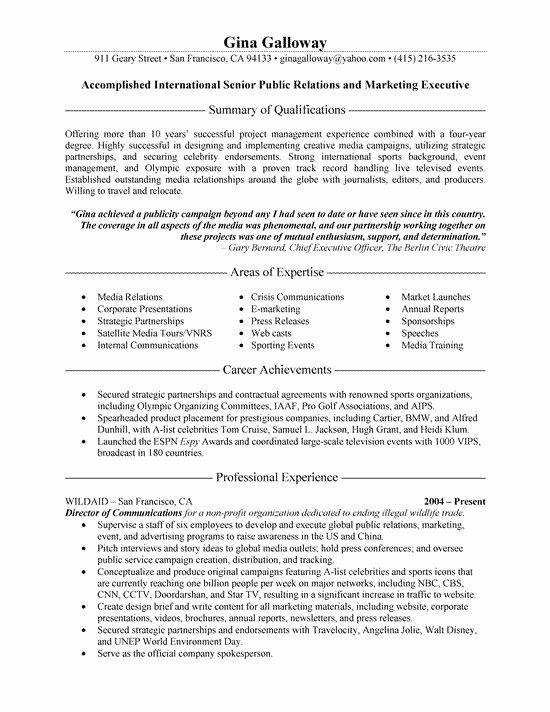 Entry Level Public Health Resume Beautiful Public Relations Executive Resume Example Resume Examples Public Relations Good Resume Examples