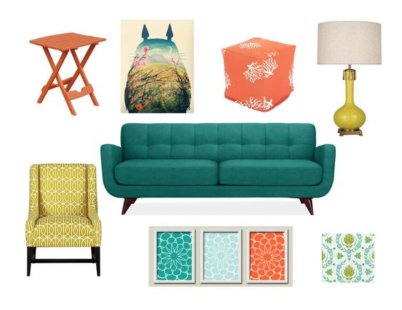 Burnt Orange Wall Paint Dining Room Contemporary With Aqua: Muted Turquoise, Burnt Orange, Golden Yellow, And Pea