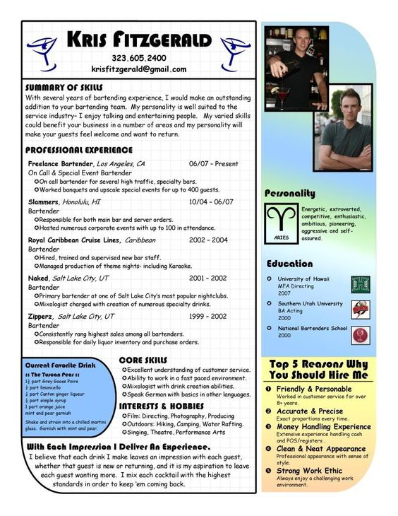 Custom Bartending Resume - Highlight your good looks with your - bartending resume examples