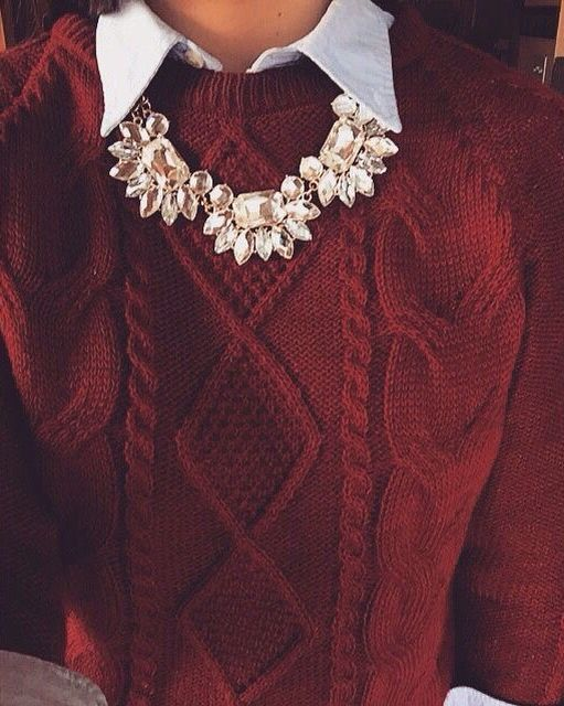 Beautiful statement necklace with a stunning red sweater.: