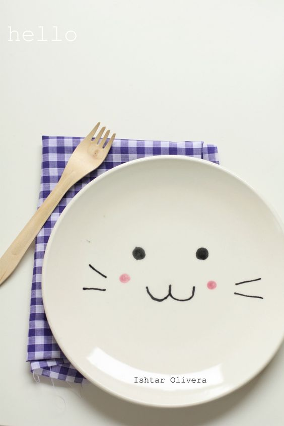 OK LC--about 698 people have repinned this sucker. My inbox is overloaded with notifications. I thought I would send it to you in case you have missed this little gem: Bunny Plate - Dollar Tree Plate - Sharpie Markers - Cold Oven Heat to 350 and Bake for 30 Minutes. - Hand Wash - Cute!