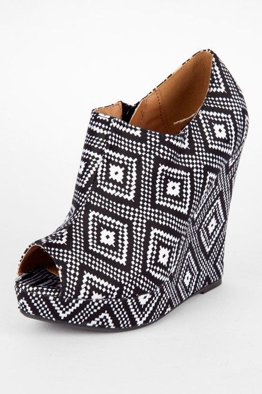 Aztec Peep Toe Wedges  Cuuuuute find Bev! Was just at TJ's today... colorcolorcolor & hipster patterns for spring 12'!