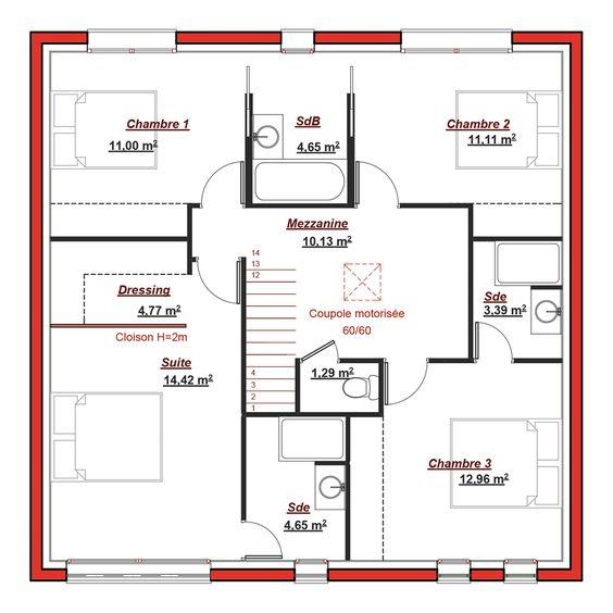 Le plan de la maison Maison de reve Pinterest - plan salon cuisine sejour salle manger