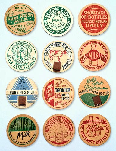 Selection of Milk Caps - round discs of waxed card fixed to the top of bottles, including one for the Coronation of June 1953. Circa 1950s 44mm (1¾in) diameter