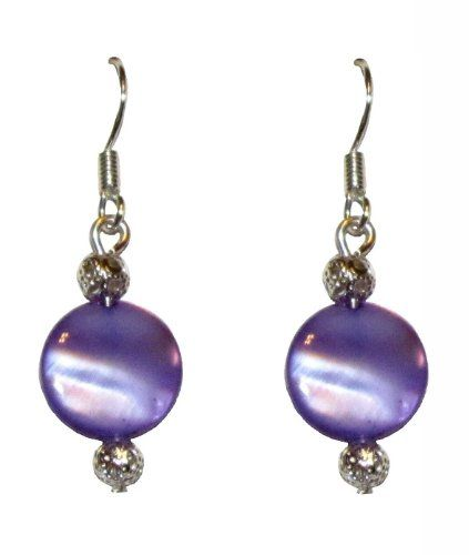 "Medium Purple Mother of Pearl and Filigree Ball Beaded Earrings in Silver on 925 Sterling Silver French Wires .75"" -"