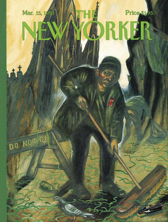 """The New Yorker - Monday, March 15, 1993 - Issue # 3551 - Vol. 69 - N° 4 - Cover """"St Patrick's Day: Broomstick of the Lord"""" by Sue Coe"""