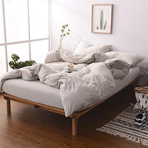 Misdress Jersey Knit Cotton Duvet Cover Set 3 Pieces 1 Duvet Cover And 2 Pillow Cases Simple Solid Design Sup Duvet Cover Sets Comforter Cover Bed Duvet Covers