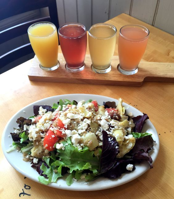 Sunday Brunch - Greek themed salad with flight of mimosas at Five Loaves Cafe, Charleston, SC
