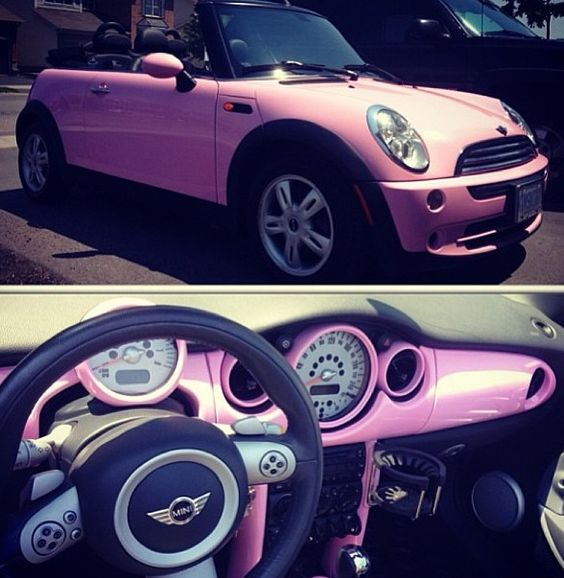 I really want a baby pink mini convertible!