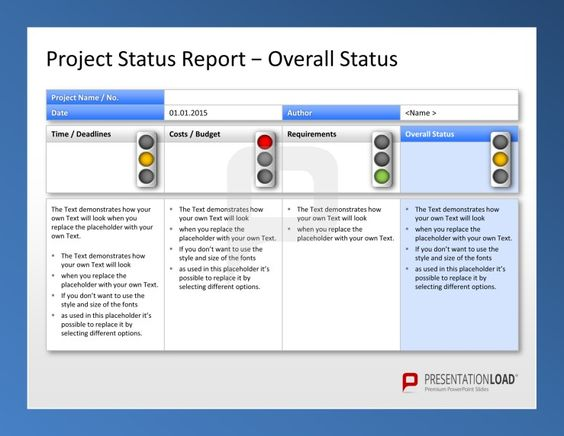 Use the Project Management PowerPoint Templates to report your – Simple Status Report Template