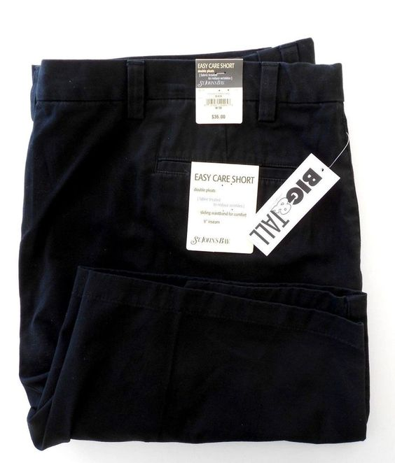 Men's Black Shorts St. Johns Bay Comfort Fit Size 50 New All Cotton Big Tall #StJohnsBay #DoublePleated Sold