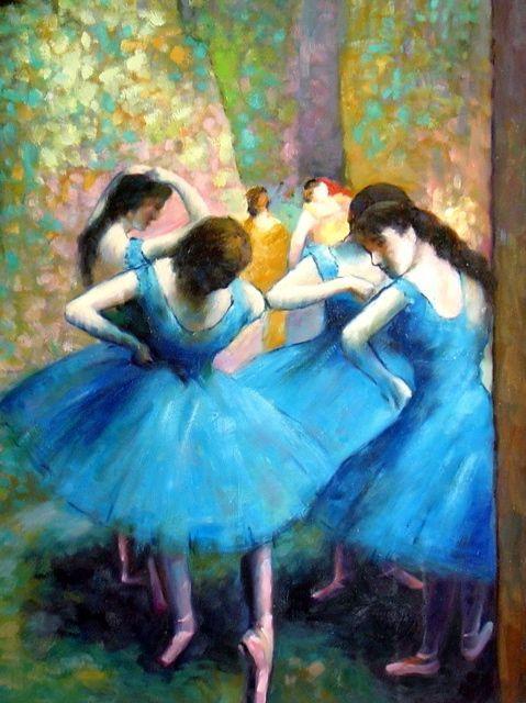 Peinture degas les danseuses bleues tableaux jean jacques rio galerie art dec - Peinture les danseuses ...